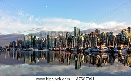 Vancouver City Skyline at Sunset with Reflection