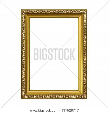 The Gold frame isolated on white background.