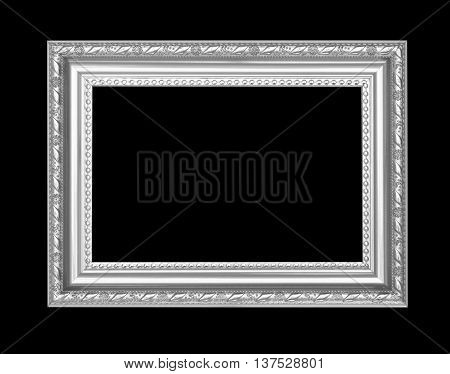 Gray antique frame isolated on black background.