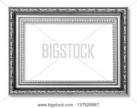 Gray antique frame isolated on white background.