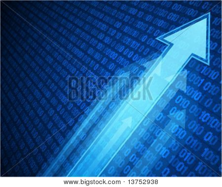 3g graph arrows move up with numbers in perspective vector background