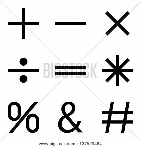 Basic Mathematical symbols on white background. Vector illustration EPS 10.