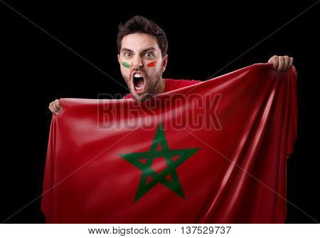 Fan holding the flag of Morocco