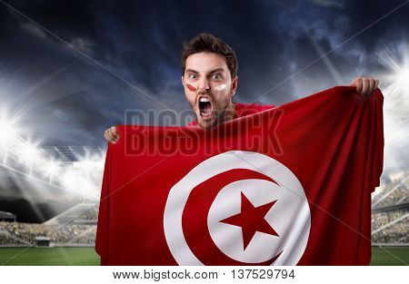 Fan holding the flag of Marocco