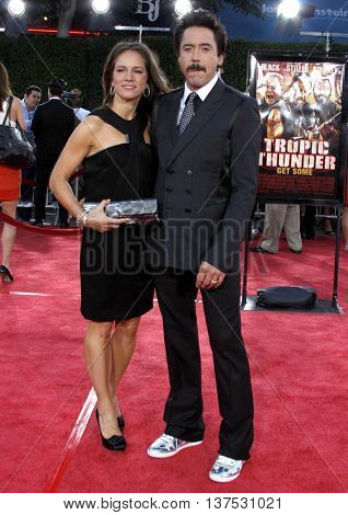Robert Downey Jr. and wife Susan Downey at the Los Angeles premiere of 'Tropic Thunder' held at the Mann Village Theater in Westwood, USA on August 11, 2008.