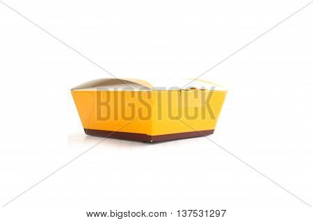 yellow paper box isolated on white background