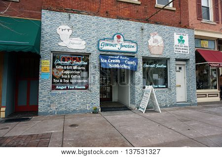 PLAINFIELD, ILLINOIS / UNITED STATES - DECEMBER 29, 2015: One may eat ice cream, sandwiches, and candy at the Gourmet Junction in downtown Plainfield.