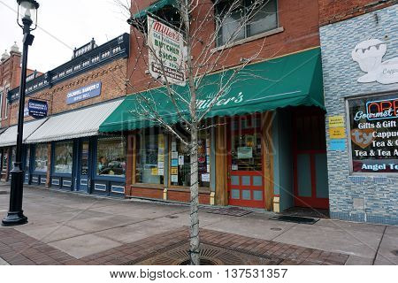 PLAINFIELD, ILLINOIS / UNITED STATES - DECEMBER 29, 2015: Miller's Old Fashioned Butcher Shop offers wild game processing in downtown Plainfield.