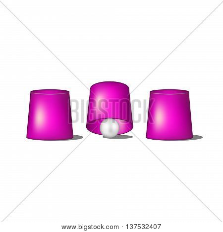Thimblerig with purple cups and ball on white background