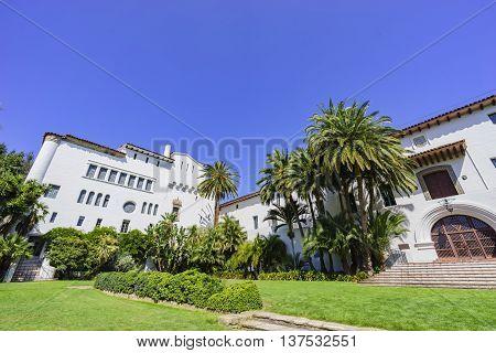Beautiful Santa Barbara County Courthouse with blue sky at California