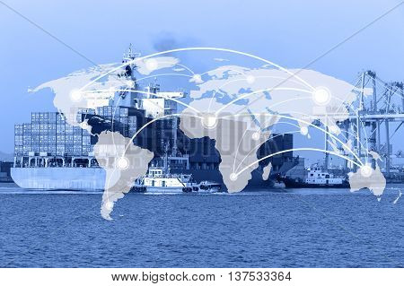 Map global connection conceptIndustrial Container Cargo freight ship for Logistic Import Export background background (Elements of this image furnished by NASA)