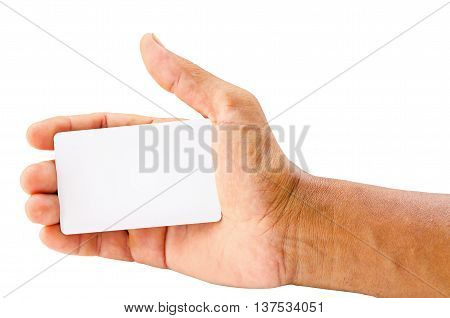 hand holding blank card isolated over white background ready for your text or message. Saved clipping path.
