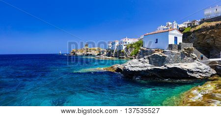 Andros island - panoramic view with small church, Greece, Cyclades
