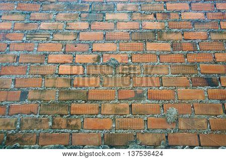 Old brick wall close up, brick background