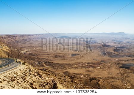 National geological park HaMakhtesh HaRamon - Ramon Crater is the Largest crater- geological erosion land form in Israel .
