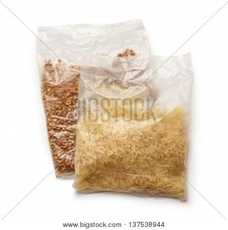 Packets Of Buckwheat And White Rice
