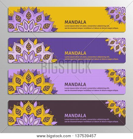 Colorful set of ornamental banners with flower mandala in yellow violet plum colors. Vintage decorative elements. Vector illustration.