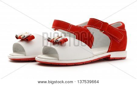 Girl's Red And White Sandals