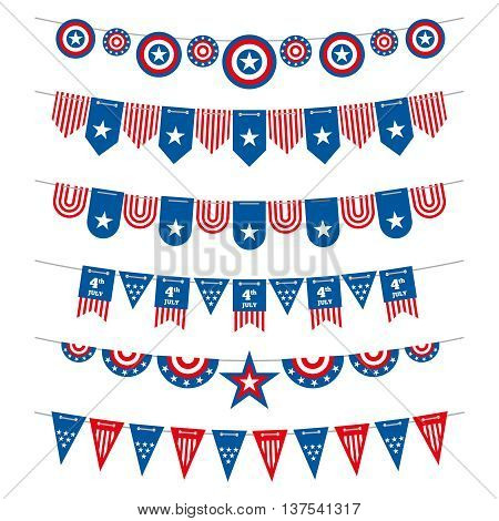 Patriotic bunting american flags garlands for USA independence day 4th july and presidential elections. Flag to independence day usa, garlands and flags decoration patriotic. Vector illustration