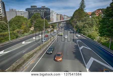 Wellington, New Zealand - March 3 2016: View of Wellington Urban Motorway