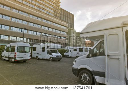Wellington, New Zealand - March 3 2016: Wellington Waterfront Motorhome Park