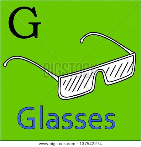 G letter. Object capital alphabet. Colorful font. Uppercase. Vector illustration. Worksheet, Exercises for kids, Coloring book. Illustration of alphabet letters with beautiful clip arts glasses
