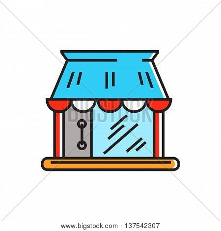 Shop building. Shopping, selling, shop window. Shopping concept. Can be used for topics like shopping, commerce, sales
