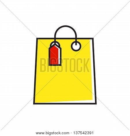 Illustration of shopping bag with tag. Shopping, buying, purchase. Shopping concept. Can be used for topics like shopping, e-commerce, sales