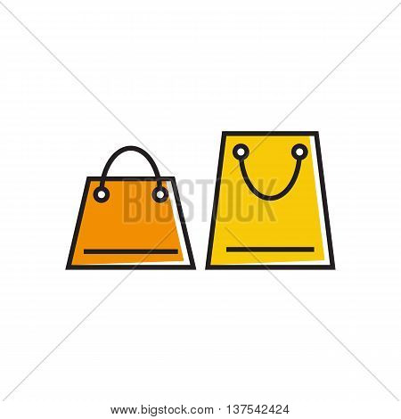 Two shopping bags. Shopping, sales, package. Shopping concept. Can be used for topics like shopping, commerce, sales