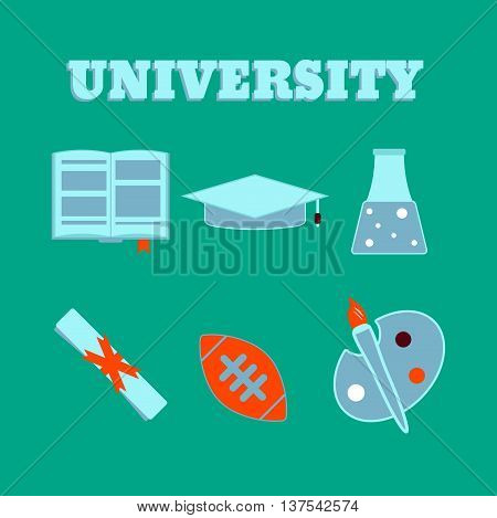 University Flat Icons. Set Of College Items. Isolated High School Education Icons.  Vector Illustrat