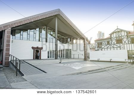 Wellington New Zealand - March 3 2016: Wharewaka Function Centre on Wellington waterfront, New Zealand