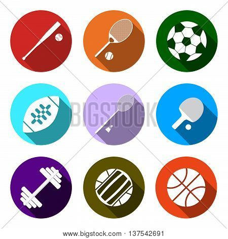 Equipment For Sports. Flat Sports Objects Set. Isolated Tennis Ball, Basketball Ball, Baseball Bit,