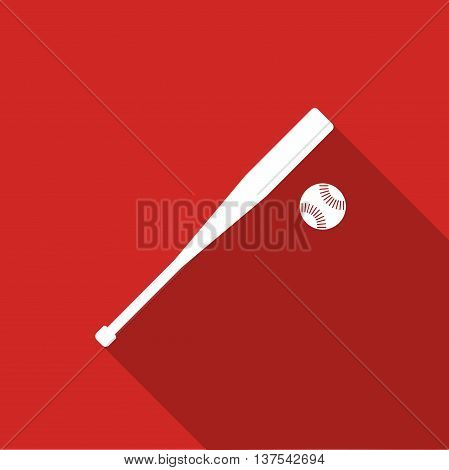Equipment For Sports. Flat Sports Objects For Team Games. Isolated Baseball Bit With Ball. Vector Il