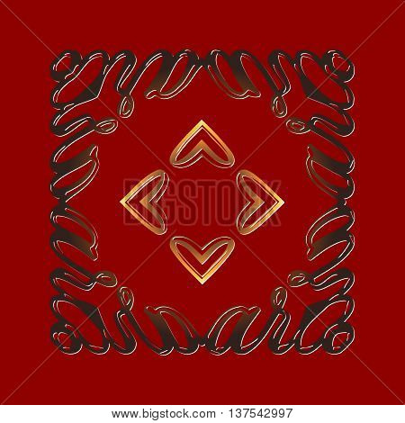 Vintage ornate embossed decorations in the form of frames on a red background