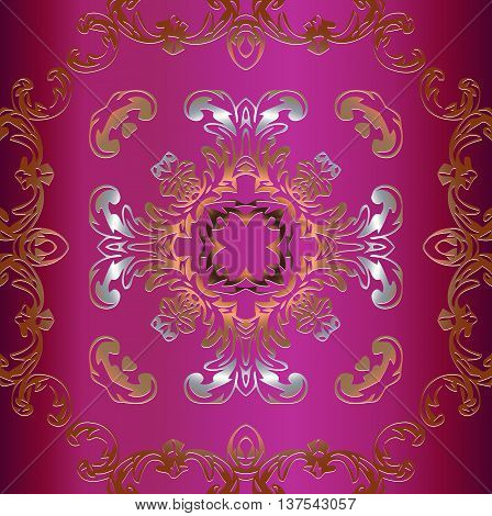 vintage gold symmetrical decoration on a pink background with elements of retro patterns