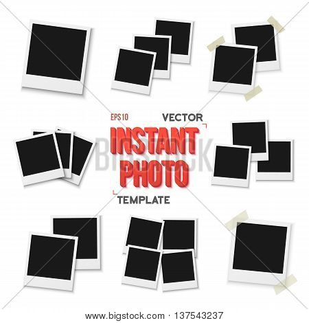 Illustration of Vector Instant Photo. Blank Vintage Photo Frame Mockup Isolated on a White Background