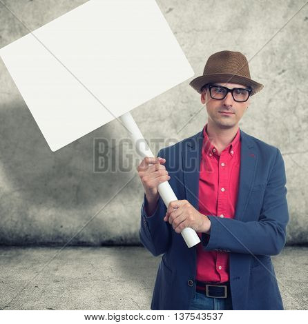 Trendy Man Holding Protest Sign