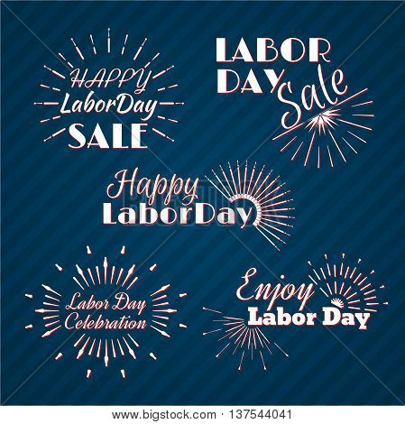White and red Sun Burst. Set of Labor Day a national holiday of the United States. American Labor Day Celebration. Retro typographic logos. Vector illustration.