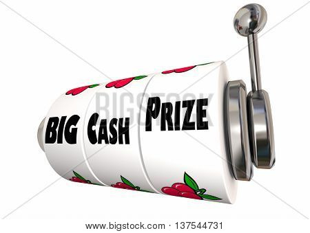 Big Cash Prize Lottery Jackpot Winnings Slot Machine 3d Illustration