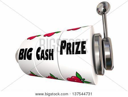 Big Cash Prize Lottery Jackpot Winnings Slot Machine 3d Illustration