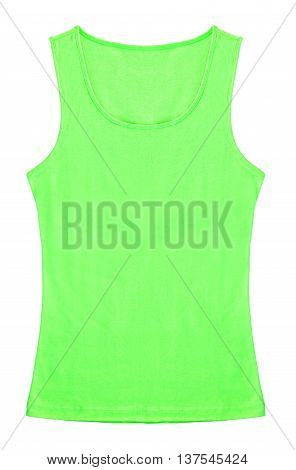 Green Sleeveless shirt woman isolated on white background. Save clipping path.