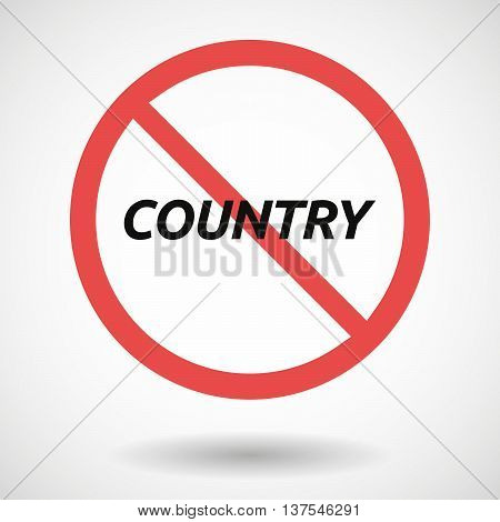 Isolated Forbidden Signal With    The Text Country