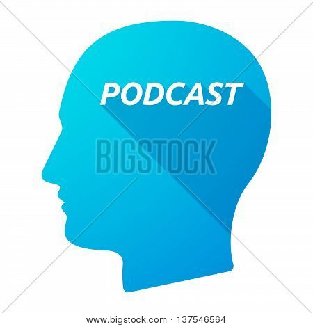 Isolated Long Shadow Male Head With    The Text Podcast