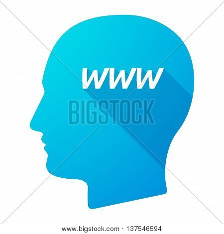 Isolated Long Shadow Male Head With    The Text Www