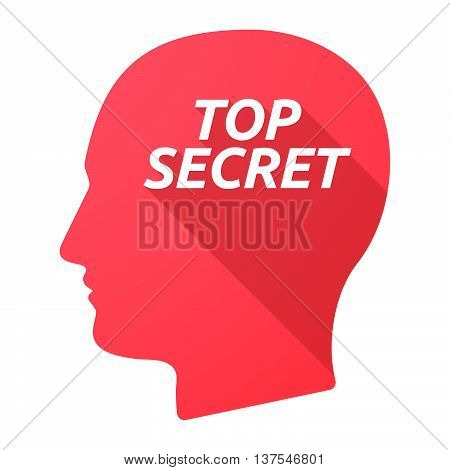 Isolated Long Shadow Male Head With    The Text Top Secret