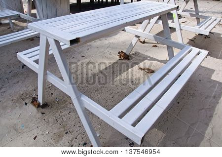 ole of white table on the beach