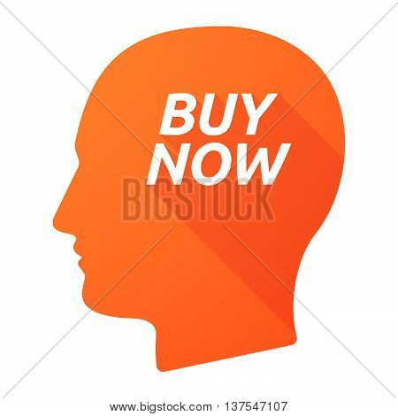 Isolated Long Shadow Male Head With    The Text Buy Now