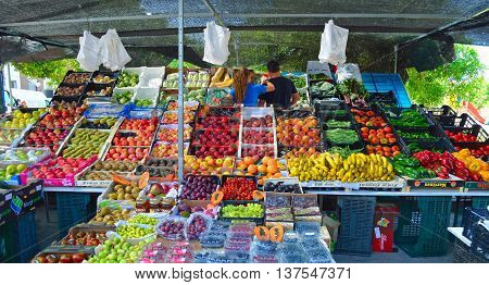 Cartama, Andalucia, Spain - June 26, 2016: Colourful fruit and vegetable market stall Cartama Spain.