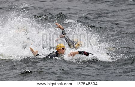 STOCKHOLM - JUL 02 2016: Chaos of swimming arms in the water in the Women's ITU World Triathlon series event July 02 2016 in Stockholm Sweden