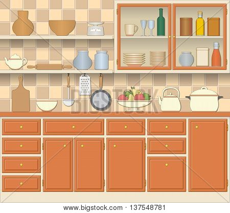 Kitchen interior and cooking utensils in retro style. Furniture cupboard bowl of fruit. Vector illustration.